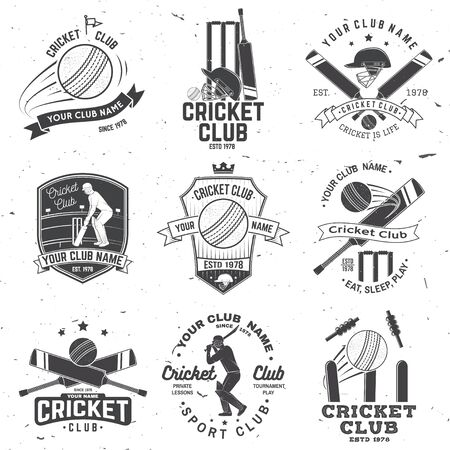 Set of cricket club badges. Vector. Concept for shirt, print, stamp or tee. Templates for sports club.