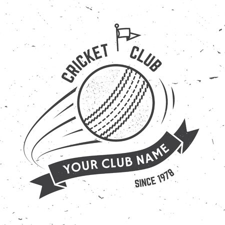 Cricket club badge. Vector. Concept for shirt, print, stamp or tee. Vintage typography design with flying ball and ribbon silhouette. Templates for sports club. Monochrome simple style