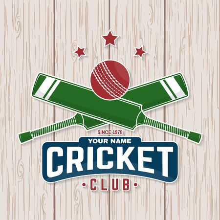 Cricket club patch or sticker. Vector. Concept for shirt, print, stamp or tee. Vintage typography design with cricket bat and ball silhouette.