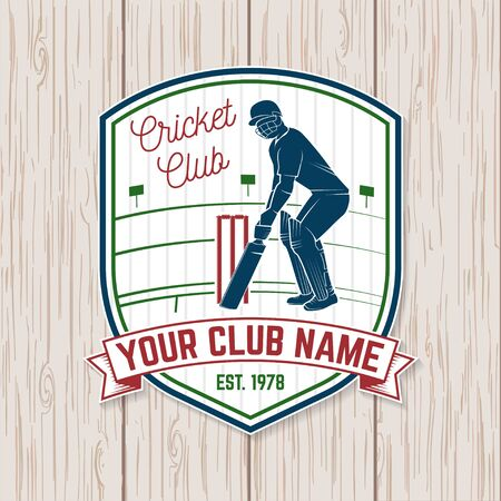 Cricket club patch or sticker. Vector. Concept for shirt, print, stamp or tee. Vintage typography design with cricket batsman silhouette. Templates for sports club. Ilustração