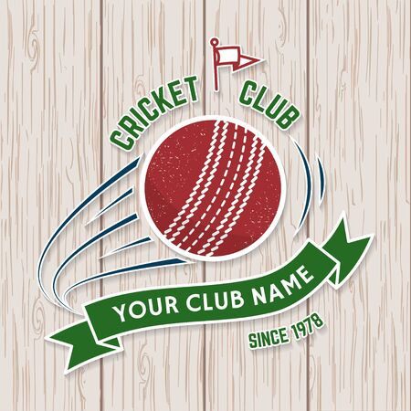 Cricket club patch or sticker. Vector. Concept for shirt, stamp or tee. Vintage typography design with flying ball and ribbon silhouette. Templates for sports club. Monochrome simple style