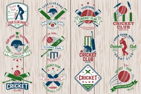 Cricket club patch or sticker. Vector. Concept for shirt, stamp or tee. Vintage typography design with bat , wicket, bail and cricket ball silhouette. Templates for sports club.