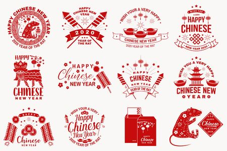 Happy Chinese New Year design. Chinese New Year felicitation classic postcard. Chinese sign year of rat greeting card. Banner for website template. Vector