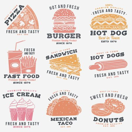 Set of fast food retro badge design. Vintage design with hotdog, burger, pizza for cafe, restaurant, pub or fast food business. Template for restaurant identity objects, packaging and menu