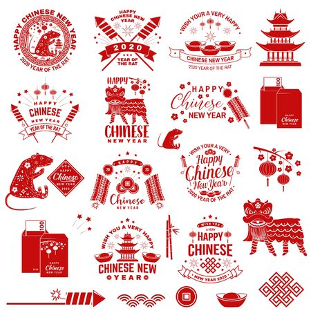 Happy Chinese New Year badge with design element. Chinese New Year felicitation classic postcard. Chinese sign year of rat greeting card. Banner for website template. Vector.