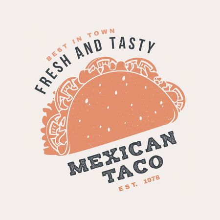 Hot and fresh mexican taco retro badge design. Vector. Vintage design for cafe, restaurant, pub or fast food business. Template for restaurant identity objects, packaging and menu  イラスト・ベクター素材