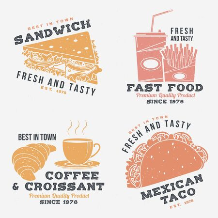 Set of fast food retro badge design. Vintage design with sandwich, coffee, taco, croissant for pub or fast food business. Template for restaurant identity objects, packaging and menu