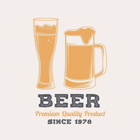 Beer retro badge design. Vector. Vintage design for restaurant, pub or fast food business. Template for restaurant identity objects, packaging and menu