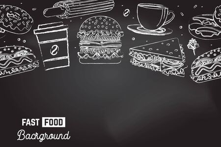 Seamless pattern with american fast food. Fast food background. Vector. Coffee, sandwich, hot dog, burger and donuts drawing on the chalkboard