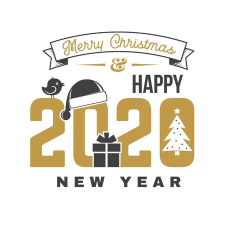 Merry Christmas and 2020 Happy New Year sticker with christmas tree, Santa Hat, gift and bird. Vector. Vintage typography design for xmas, new year emblem in retro style. Иллюстрация