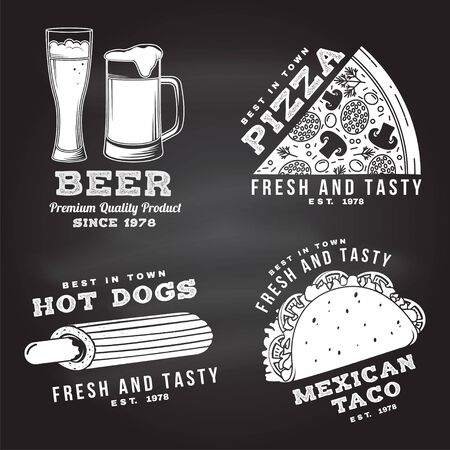 Set of fast food retro badge design on the chalkboard. Vintage design with pizza, beer, taco, hot dog for pub or fast food business. Template for restaurant identity objects, packaging and menu