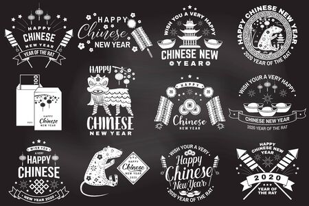 Happy Chinese New Year on the chalkboard. Chinese New Year felicitation classic postcard. Banner for website template