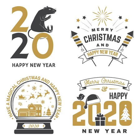 Set of Merry Christmas and 2020 Happy New Year stamp, sticker Set quotes with snowflakes, snowman, firework rockets, rat, gift. Vector. Vintage typography design for xmas, new year emblem