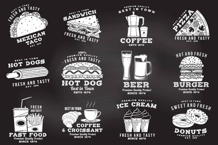 Set of fast food badge on the chalkboard. Vintage design with hotdog, burger, pizza for cafe, restaurant, pub or fast food business. Template for restaurant identity objects, packaging and menu