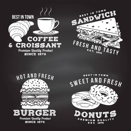 Set of fast food retro badge design on the chalkboard. Vintage design with sandwich, coffee, croissant, burger, donuts for pub or fast food business. For restaurant identity objects, menu