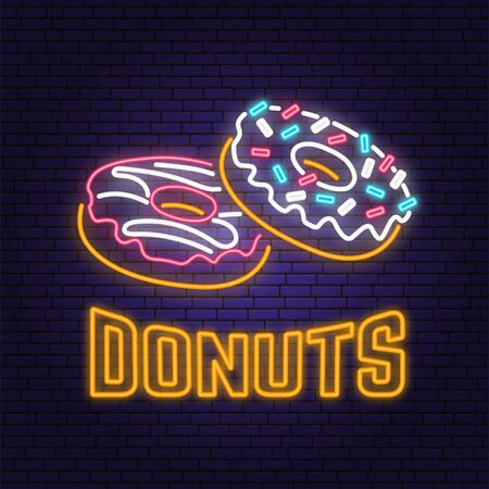 Neon donuts retro sign on brick wall background. Design for cafe, restaurant. Vector. Neon design for pub or fast food business. Light sign banner. Glass tube.