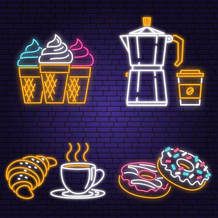 Neon ice cream, donuts, coffee and croissant retro sign on brick wall background. Design for cafe, restaurant. Neon design for pub or fast food business. Light sign banner. Glass tube.