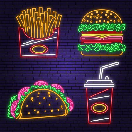 Retro neon burger, cola, taco and french fries sign on brick wall background. Design for cafe. Vector. Neon design for pub or fast food business. Light sign banner. Glass tube
