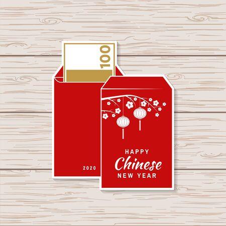 Diseño de etiqueta de feliz año nuevo chino. Vector. Parche de año nuevo chino o tarjeta de felicitación. Signo chino con sobre rojo. Banner para plantilla de sitio web. Ilustración de vector