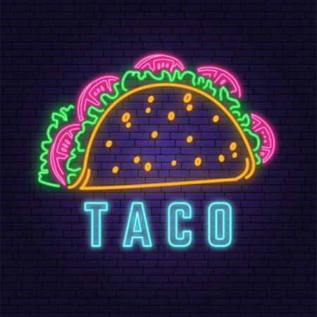 Neon mexican taco retro badge design. Design for cafe, restaurant. Vector. Neon design for pub or fast food business. Light sign banner. Glass tube.