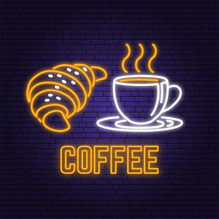 Neon coffee and croissant retro sign on brick wall background. Design for cafe, restaurant. Vector. Neon design for pub or fast food business. Light sign banner. Glass tube. Ilustração