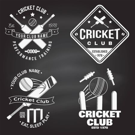 Set of cricket club badges on the chalkboard. Vector. Concept for shirt, print, stamp or tee. Templates for cricket sports club.
