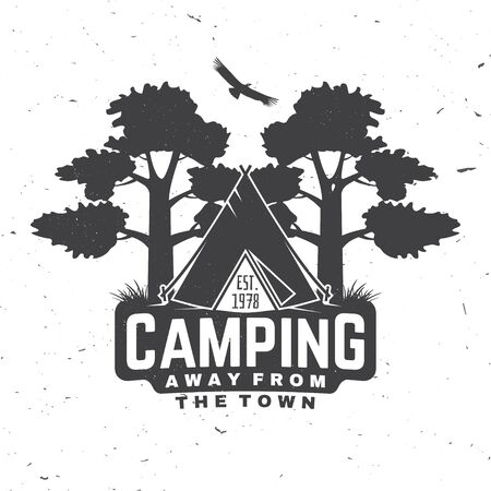 Camping. Away from the town. Vector. Concept for shirt or logo, print, stamp or tee. Vintage typography design with Camper tent and forest silhouette.