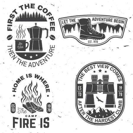 Set of outdoor adventure quotes symbol. Vector. Concept for shirt or logo, print, stamp or tee. Vintage design with hiking boots, binoculars, mountains, campfire, coffee and forest silhouette.