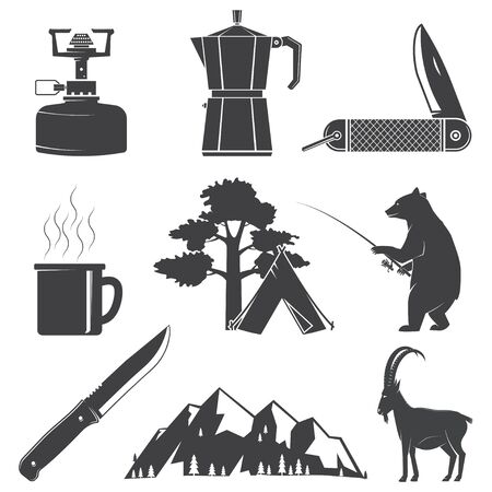 Set of Hiking and Camping icons isolated on the white background. Vector. Set include fishing bear, mountains, knife, tent, cup, coffee, goat, gas stove and forest silhouette