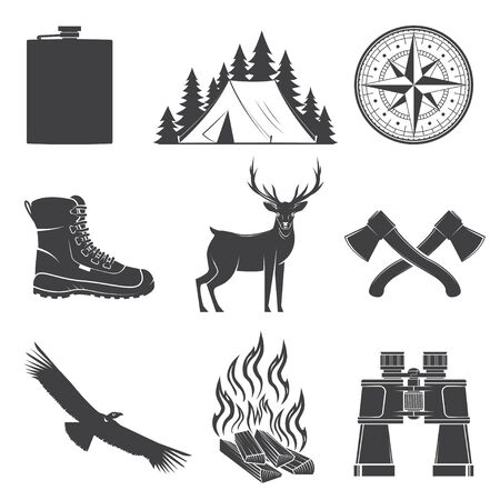 Set of Hiking and Camping icons isolated on the white background. Vector. Set include compass, condor, boots, axe, deer, tent, campfire, flask, binoculars forest silhouette