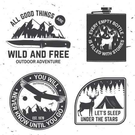 Set of outdoor adventure quotes symbol.  Concept for shirt or  print, stamp or tee. Çizim