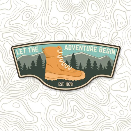 Let the adventure begin. Sammer camp badge. For patch, stamp. Vector. Concept for shirt or  print, stamp or tee.