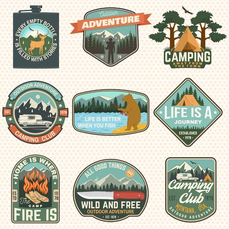 Set of Summer camp badges. Vector. Concept for badge, patch, shirt, print, stamp or tee. Design with fishing bear, knife, mountains, deer, flask and mountains silhouette