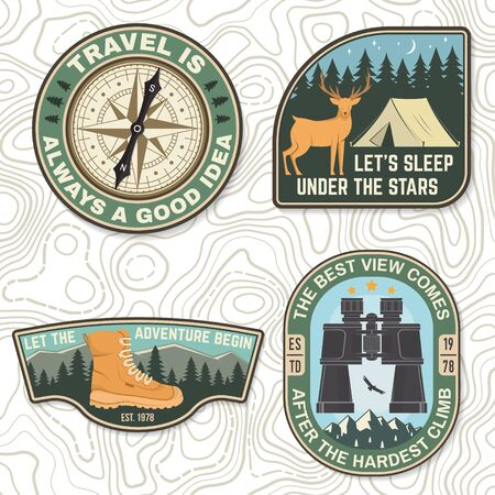 Set of outdoor adventure quotes symbol. Concept for badge, patch, shirt, print, stamp or tee. Design with condor, camping tent, hiking boots, compass, mountains and forest silhouette.