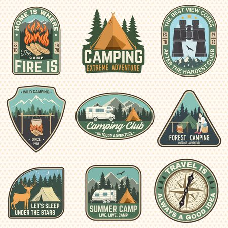 Set of Summer camp badges. Vector. Concept for shirt or  print, stamp, patch or tee. Design with compass, camping tent, binoculars, campfire, mountains and forest silhouette. Stock Illustratie