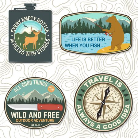 Set of outdoor adventure quotes symbol. Vector. Concept for badge, patch, shirt, print, stamp or tee. Design with fishing bear, knife, mountains, deer, compass, flask, mountains silhouette. Ilustracja