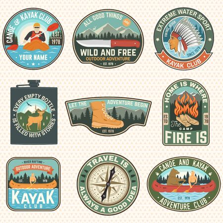 Set of Summer camp badges, patches. Vector. Concept for shirt or  print, stamp, patch or tee. Design with campfire, knife, hiking boots, canoe or kayak and forest silhouette