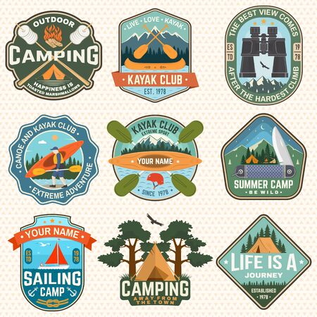 Set of Summer camp badges, patches. Vector. Concept for shirt or print, stamp, patch. Design with camping tent, campfire, knife, binoculars, canoe or kayak and forest silhouette Stock Illustratie