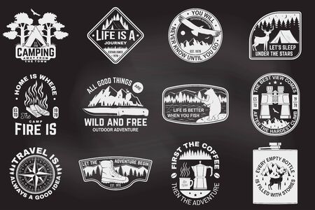 Set of outdoor adventure quotes on the chalkboard. Vector. Concept for shirt or print, stamp tee. Design with hiking boots, binoculars, mountains, fishing bear, deer, tent and forest silhouette