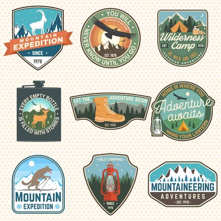 Mountain expedition and outdoor adventure badges. Vector. Concept for badge, patch, shirt, print, stamp or tee. Design for hiking emblems, mountains emblem badges, outdoors hill travel Illustration