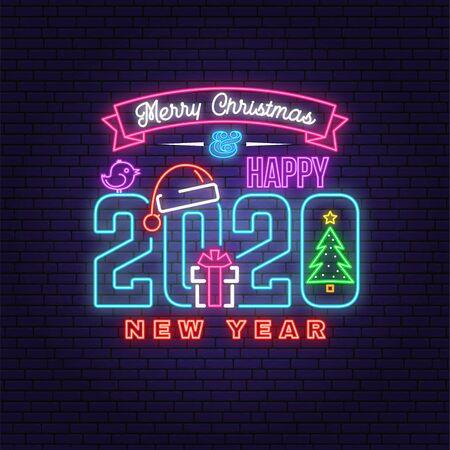 Feliz Navidad y feliz año nuevo 2020 letrero de neón con árbol de Navidad, regalo, gorro de Papá Noel, pájaro. Vector. Diseño de neón para Navidad, emblema de año nuevo, letrero luminoso, banner de luz. Letrero de noche