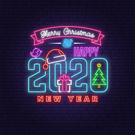 Merry Christmas and 2020 Happy New Year neon sign with christmas tree, gift, santa hat, bird. Vector. Neon design for xmas, new year emblem, bright signboard, light banner. Night signboard