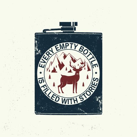 Every empty bottle is filled with stories slogan. Summer camp. Vector. Concept for shirt, print, stamp or tee. Vintage typography design with metal hip flask, deer and mountains silhouette.