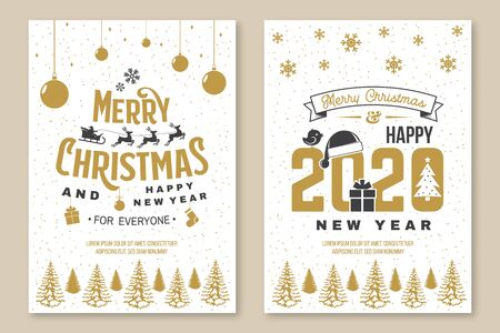 Set of Merry Christmas and 2020 Happy New Year flyer, greeting cards. Set quotes with snowflakes, santa claus, gift, christmas ball. Vector. Vintage typography design for xmas, new year emblem