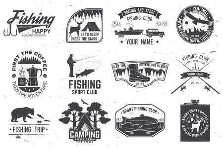 Set of outdoor adventure patches with inspirational quotes, fishing club badges. Vector. Concept for shirt or print, stamp or tee. Vintage design with rv trailer, camping tent, fish rod, bear. 일러스트