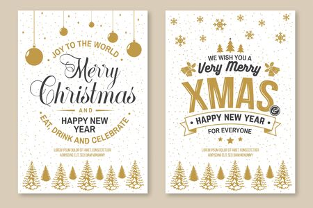 Set of Merry Christmas and 2020 Happy New Year poster, greeting cards. Set quotes with holly, berry, christmas tree, bell. Vector illustration. Design for xmas, new year emblem in retro style.