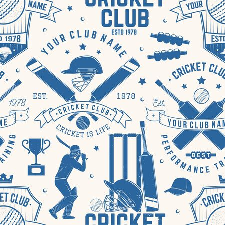 Cricket club seamless pattern or background. Vector. Seamless sport pattern with cricket ball, wicket, bail and helmet silhouette. Cricket sport club texture. Illustration