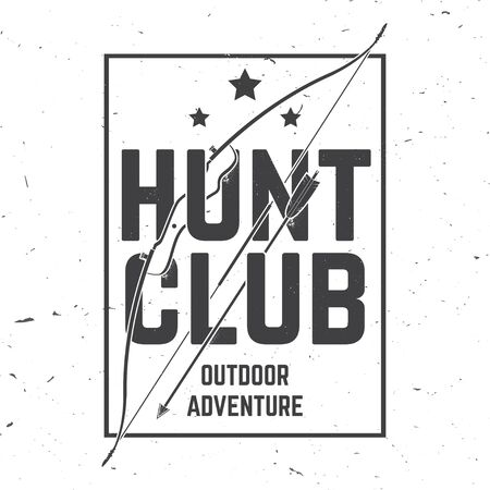 Hunting club. Vector. Concept for shirt or label, print, stamp or tee. Vintage typography design with frame, hunting bow and arrow silhouette. Outdoor adventure hunt club emblem