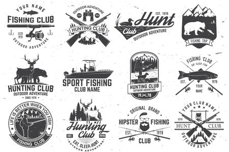 Set of hunting club and fishing club badges. Vector. Concept for shirt, stamp, tee. Design with hunting gun, bear, turkey , deer, camping tent, fish rod, bear. Outdoor adventure club emblem Ilustração