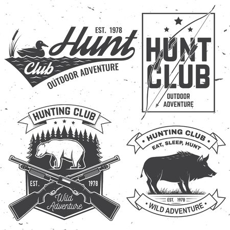Set of Hunting club badge. Vector. Concept for shirt, print, stamp. Vintage typography design with hunting gun, boar, bear, duck, bow and arrow silhouette. Outdoor adventure hunt club emblem